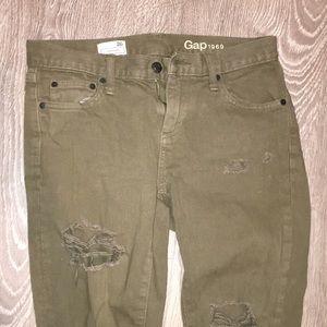 Green Girlfriend Ripped Jeans